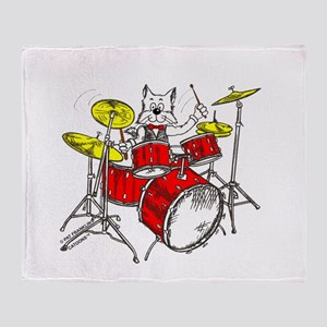 Catoons™ drums cat Throw Blanket